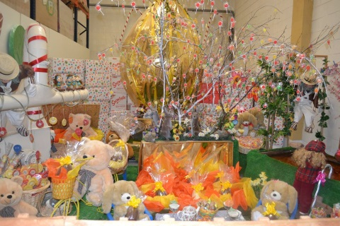 Easter bunnies and baskets